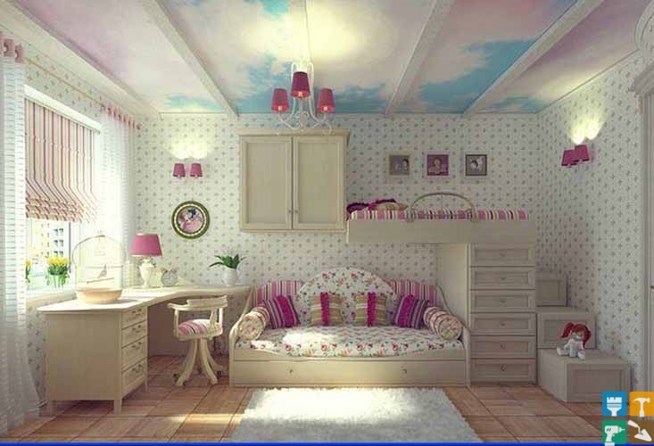 Дизайн детской комнаты В современном обществе принято выделять для мальчишек и девчонок отдельную комнату в доме или квартире. В этом смысле им несказанно повезло. Ведь для ребенка его детская комната представляется целым миром. В ней происходят самые важные и запоминающиеся события в жизни ребенка.  Детская комната считается самой функциональной из всех. Он включает в себя не только спальню и игровую, но еще и гостиную, спортзал и кабинет. Поэтому дизайн детской комнаты должен быть таким, чтобы ребенок ощущал себя в ней удобно и комфортно. Она должна дарить ребенку только положительные эмоции. В процессе разделения детской комнаты на зоны (место для отдыха, игр и занятий, хранения вещей, спальное место) необходимо учитывать возраст ребенка. С взрослением ребенка рабочая зона должна становиться все больше. Это влечет за собой изменение интерьера помещения. Дизайн детской комнаты должен меняться вместе с возрастом чада. Размер помещения играет важную роль. Но даже самая маленькая комната, оформленная с любовью и в профессиональном стиле, сможет вместить в себя все самое необходимое для малыша. Дизайн детской комнаты необходимо начинать создавать с планировки интерьера. В противном случае вносить дальнейшие коррективы будет весьма непросто, но возможно. Вот только для этого понадобятся большие финансовые затраты и серьезные перестановки. Также следует особое внимание уделить количеству элементов, которыми будет наполняться комната. Их не должно быть слишком много, чтобы в помещении было достаточно просторно. Также следует позаботиться о наличии места для игр. К основным элементам мебели относится стул, стол, шкаф, полки, кровать и т. п.  В процессе роста ребенка комната должна меняться. Необходимо производить замену мебели, декора, освещения. С достижением старшего возраста дизайн детской комнаты придется переделать целиком. Некоторые специалисты сходятся во мнении, что отдельная комната должна появляться у ребенка после двухлетнего возраста. Наличие отдельной комнаты