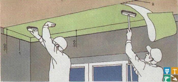 Оклейка потолков обоями флизелиновыми, виниловыми