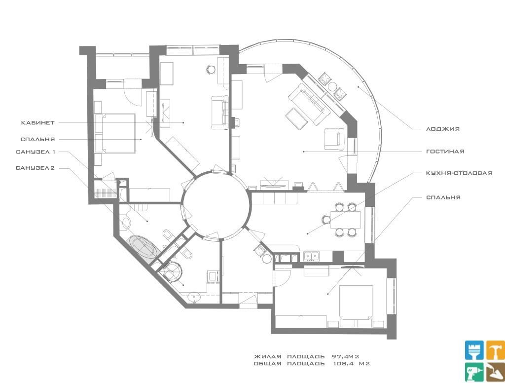 Дизайн 4-х комнатной квартиры, Измайлово