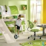Примы отличных дестких комнат для мальчиков дизанй в зеленом цвете. спорт